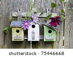 Three Cute Little Birdhouses O...