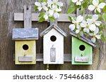 Three Cute Little Birdhouses On ...