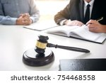 close up of gavel  male lawyer... | Shutterstock . vector #754468558