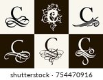 vintage set . capital letter c... | Shutterstock .eps vector #754470916