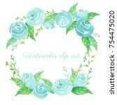 blue rose. watercolor clip art... | Shutterstock . vector #754475020