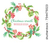 christmas and new year card.... | Shutterstock . vector #754475023