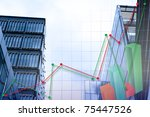 abstract chart with skyscraper background - stock photo