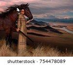 3d render of a beautiful native ... | Shutterstock . vector #754478089