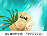 straw beach woman's hat sun...   Shutterstock . vector #754478920