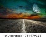 asphalted road at sunset   Shutterstock . vector #754479196