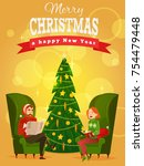 family christmas. husband and... | Shutterstock .eps vector #754479448