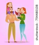 happy family. dad  mom  son ...   Shutterstock .eps vector #754480108