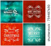 set of merry christmas and... | Shutterstock .eps vector #754487650