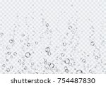 Bubbles underwater texture isolated on transparent background. Vector fizzy air, gas or clean oxygen bubbles under sea water. Realistic effervescent champagne drink, soda effect for your design | Shutterstock vector #754487830