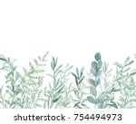 watercolor floral pattern. hand ... | Shutterstock . vector #754494973