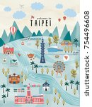 lovely taiwan travel concept ... | Shutterstock . vector #754496608