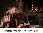 happy couple toasting and... | Shutterstock . vector #754498144