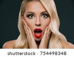 shocked glamorous woman with... | Shutterstock . vector #754498348