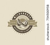 mountains logo emblem vector... | Shutterstock .eps vector #754500958