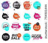 set of flat design sale stickers | Shutterstock . vector #754501444
