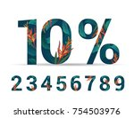 set of numbers 0 9 with percent ... | Shutterstock .eps vector #754503976
