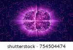 purple glowing brain wired on... | Shutterstock . vector #754504474