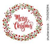 christmas wreath.vector... | Shutterstock .eps vector #754509094