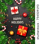 christmas background with fir... | Shutterstock .eps vector #754509193