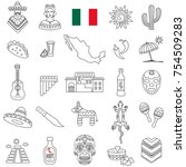 mexico line icon set.vector | Shutterstock .eps vector #754509283