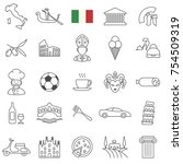 italy line icon set.vector | Shutterstock .eps vector #754509319