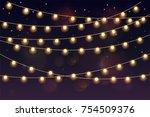 glowing light bulbs design... | Shutterstock .eps vector #754509376
