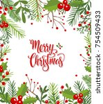 christmas background with fir... | Shutterstock .eps vector #754509433