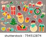 christmas sticker icon set.... | Shutterstock .eps vector #754512874