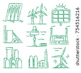 collection of renewable energy... | Shutterstock .eps vector #754516216