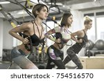 sexy girls are training with... | Shutterstock . vector #754516570