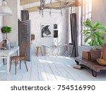 scandinavian style interior.... | Shutterstock . vector #754516990