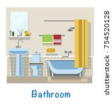 bathroom. bathroom interior.... | Shutterstock .eps vector #754520128