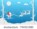paper art in origami christmas... | Shutterstock .eps vector #754521580