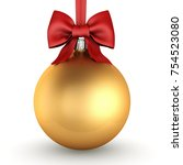 3d rendering golden christmas... | Shutterstock . vector #754523080