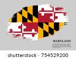 grunge styled flag of maryland... | Shutterstock .eps vector #754529200