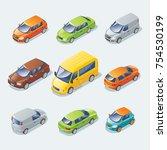 isometric modern cars... | Shutterstock .eps vector #754530199