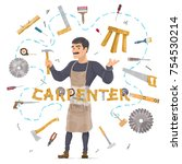 carpentry round concept with...   Shutterstock .eps vector #754530214