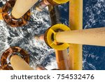 offshore drill yellow oil and... | Shutterstock . vector #754532476