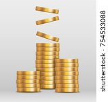 vector shiny gold coins in... | Shutterstock .eps vector #754533088