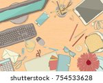 illustrated workplace... | Shutterstock .eps vector #754533628