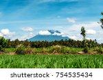 mount agung or gunung agung. a... | Shutterstock . vector #754535434