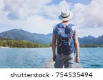 wanderlust travel  young... | Shutterstock . vector #754535494