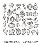 vector set of begetables  ... | Shutterstock .eps vector #754537039