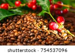 coffee background. real coffee... | Shutterstock . vector #754537096
