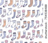 seamless pattern with naive... | Shutterstock .eps vector #754538488