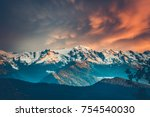 beautiful colorful sunset over... | Shutterstock . vector #754540030