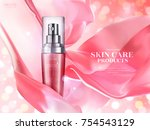 skin care ads  pink spray... | Shutterstock .eps vector #754543129
