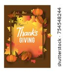 happy thanksgiving typography... | Shutterstock .eps vector #754548244