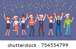 business people celebrate merry ... | Shutterstock .eps vector #754554799